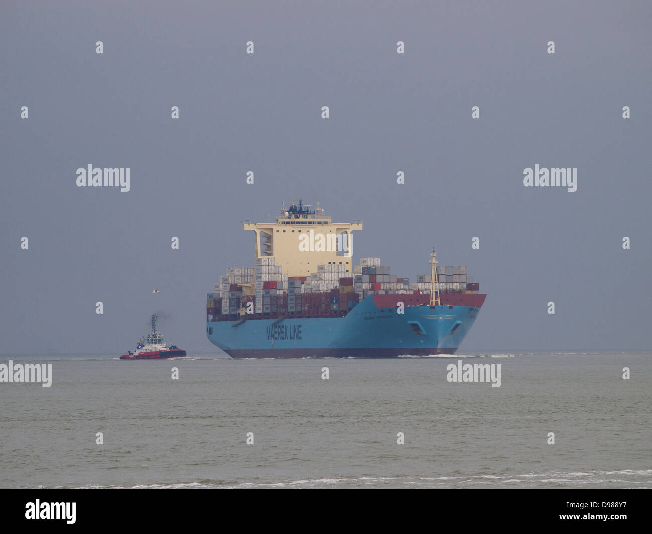 The enormous container ship Maersk Laberinto approaching the port of Rotterdam from the North Sea. Stock Photo