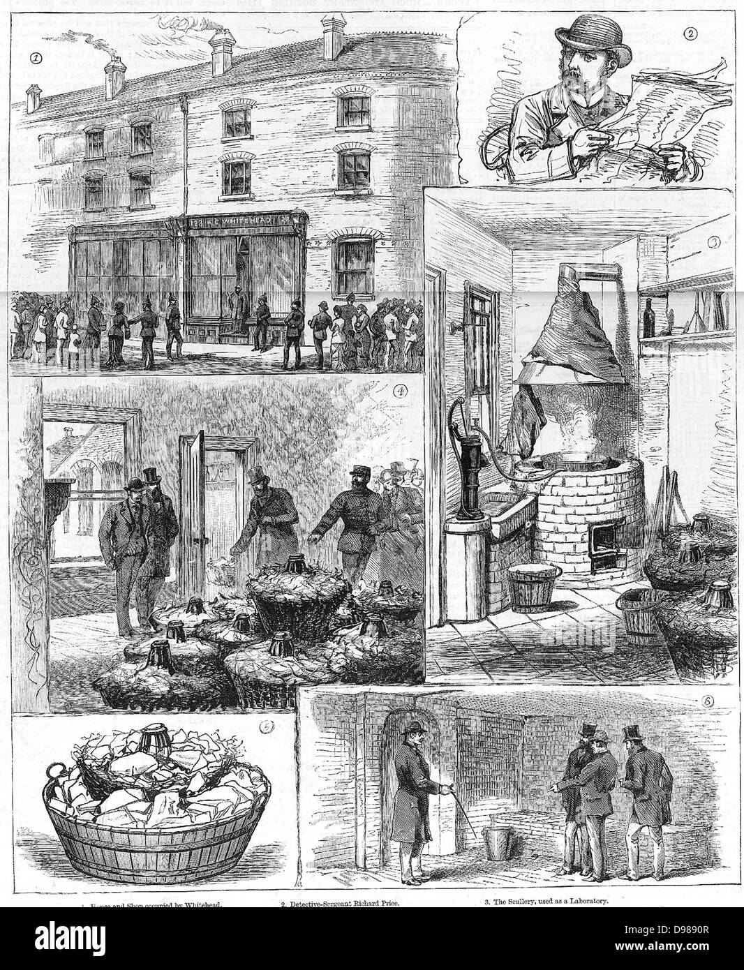 Fenian explosives conspiracy, 1883: Police discovery of nitro-glycerine factory in the Ladywood district of Birmingham. - Stock Image