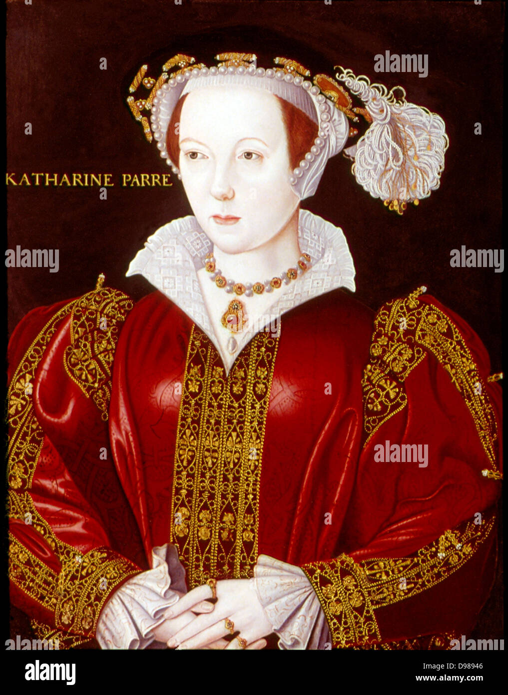 Catherine Parr (1512-1548). Sixth and last wife of Henry VIII. Anonymous portrait c1545 . - Stock Image