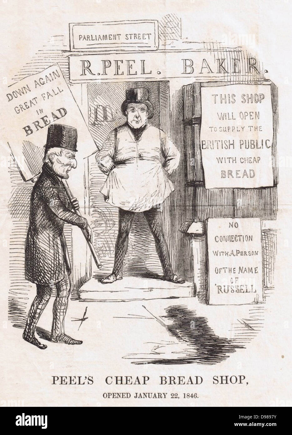 Robert Peel, Prime Minister, as a Baker, Duke of Wellington carrying advertising placard. From 1815 to 1846 Corn - Stock Image