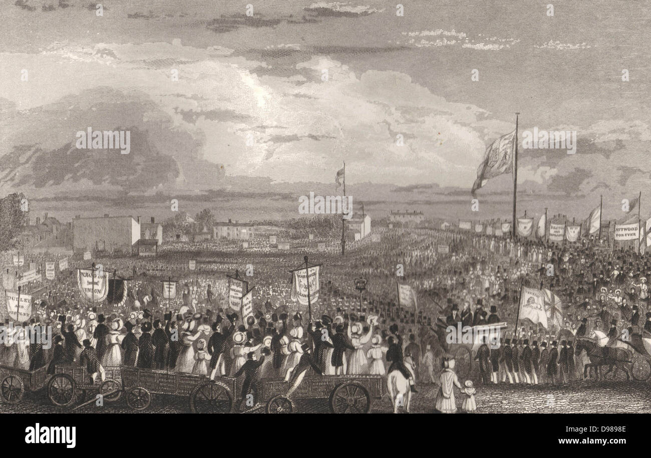 Great Meeting of the Political Unions, New Hall Hill, Birmingham, May 1832. Engraving. - Stock Image