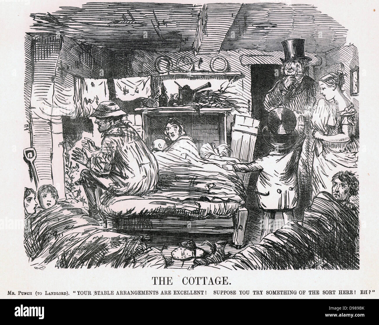 The Cottage': Mr Punch urging a country landowner to raise the standard of housing for his labourers at least - Stock Image