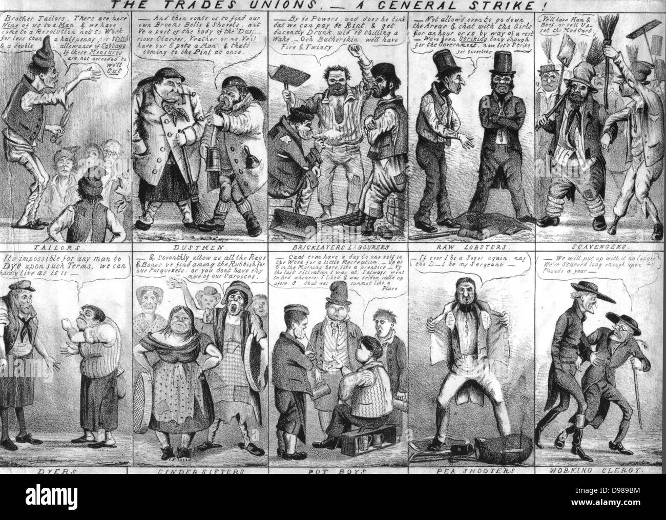 Satirical view of Trade Unions and their demands from tailors and bricklayers to police and clergy. Lithograph 1830s. - Stock Image