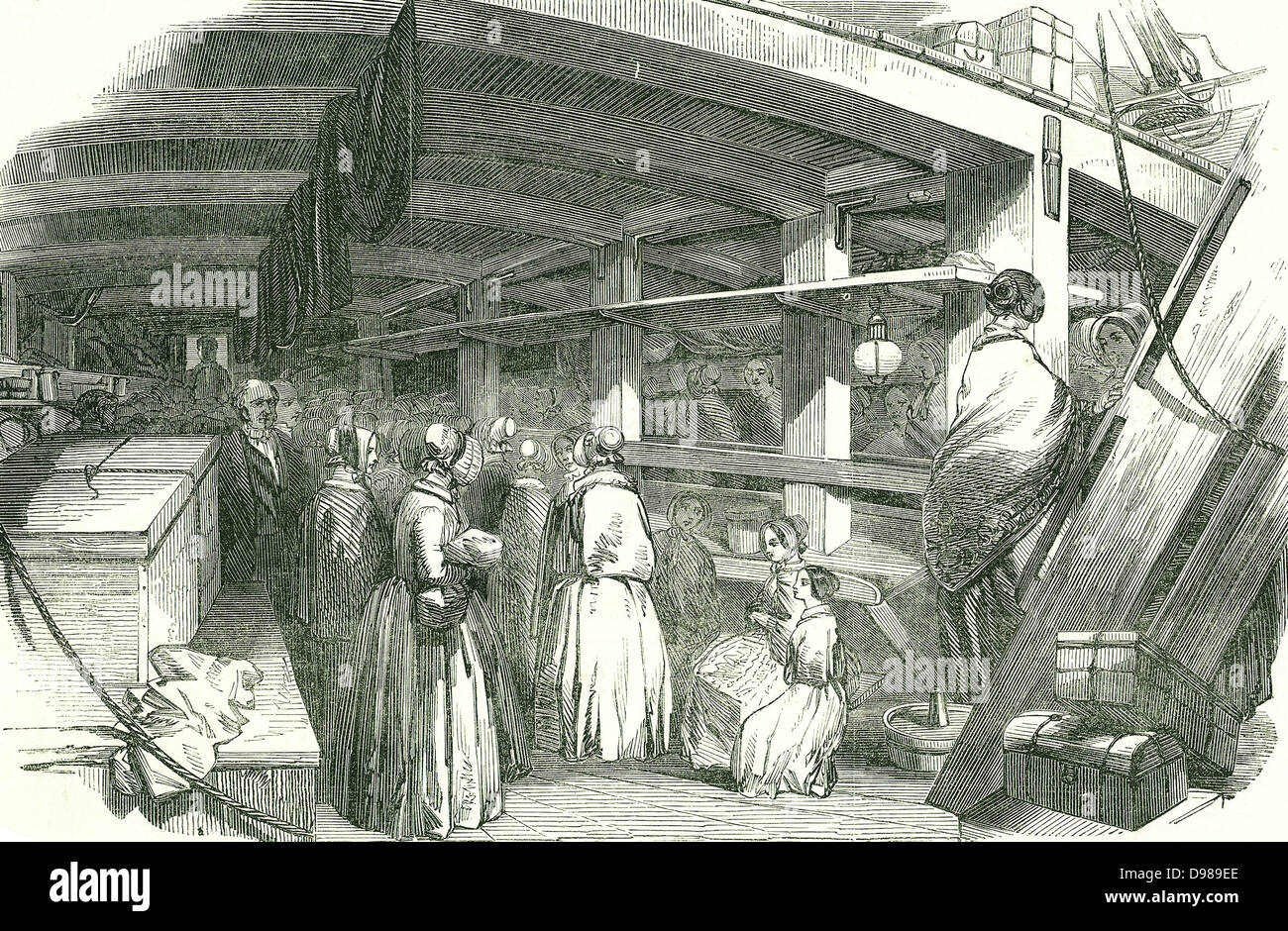 Scene between decks on an emigrant ship carrying poor needlewomen to Australia. At this date skilled workers were - Stock Image