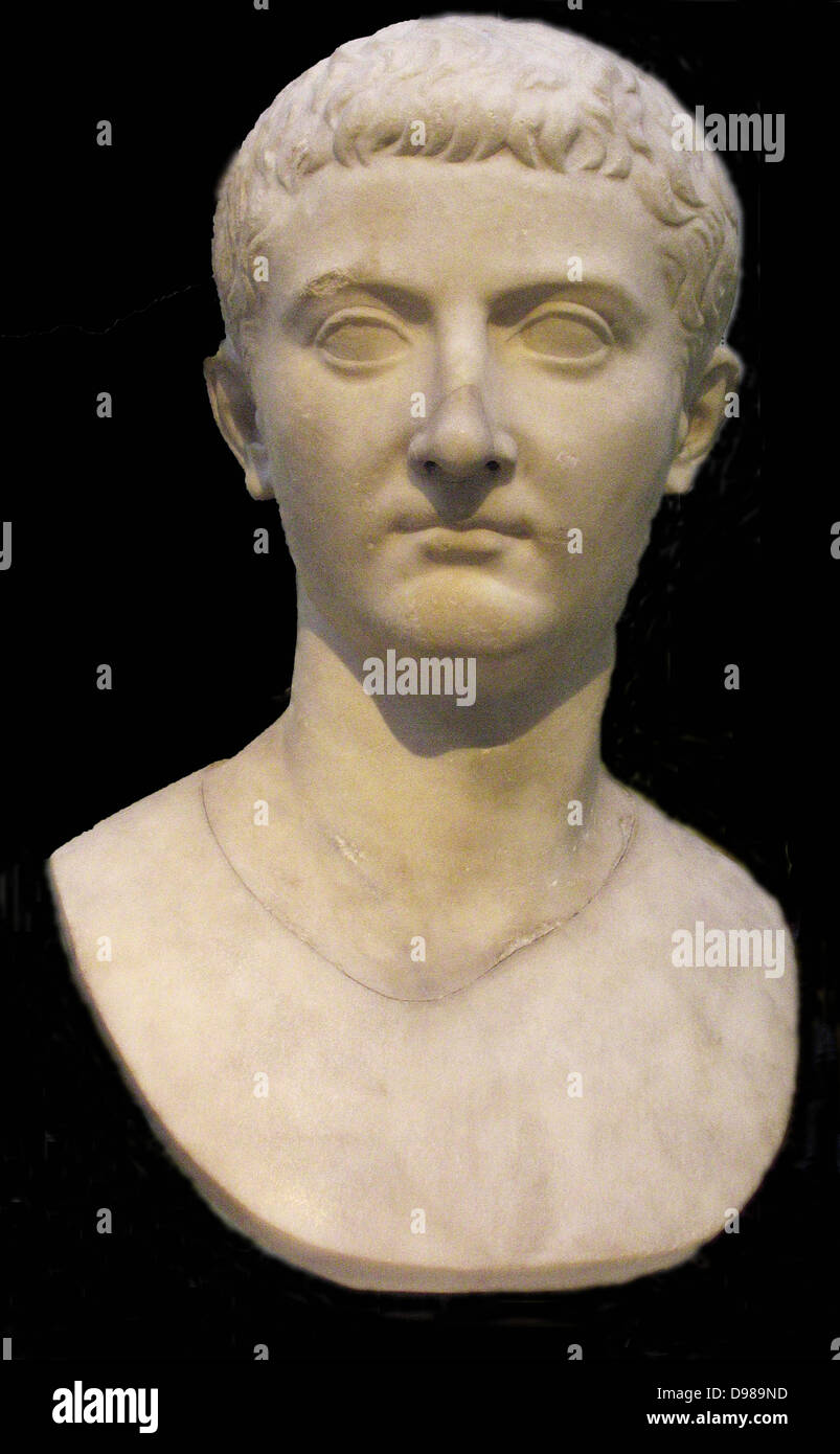 Marble head of the emperor Tiberius (42BC-AD 37) from Italy.  Second emperor of Rome. - Stock Image