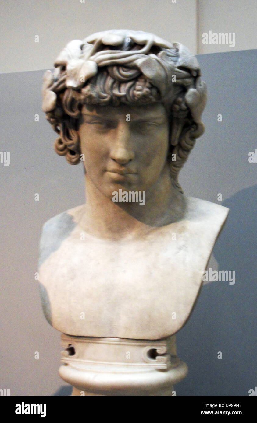 Marble bust of Antinous  d122.  Bithynian youth of matchless beauty.  Lover of Hadrian. - Stock Image