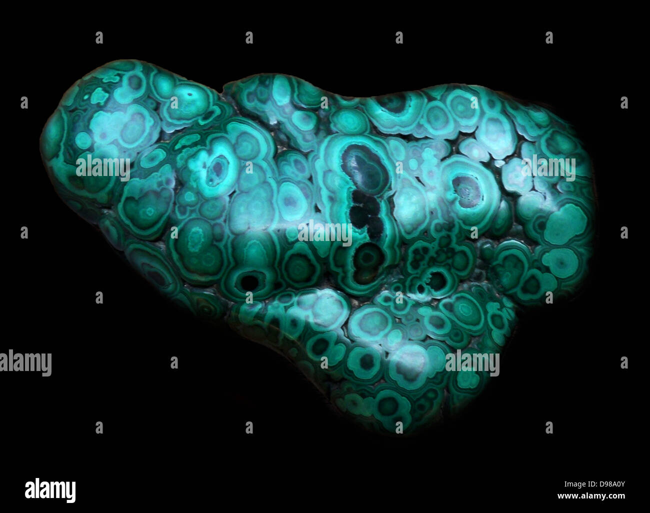 The Copper mineral malachite, from the Democratic Republic of the Congo - Stock Image