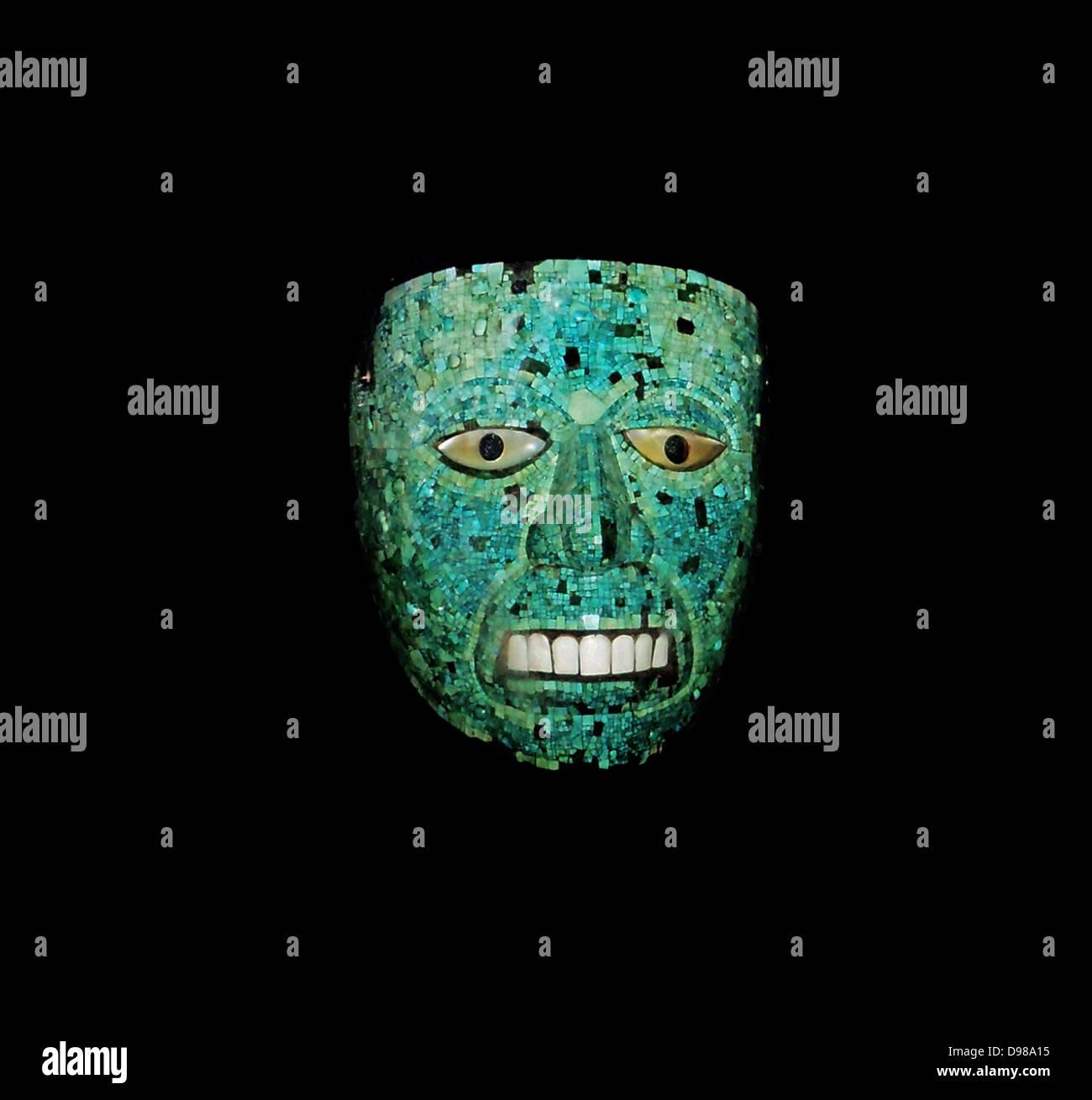 Turquoise mosaic mask AD 1400-1521 - Stock Image