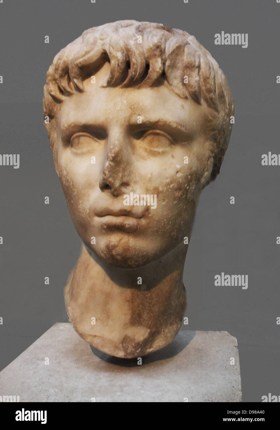Marble head of Gaius Caesar (20BC - AD 4), Roman, eldest son of Julia and Agrippa.  Gaius was an obvious successor Stock Photo