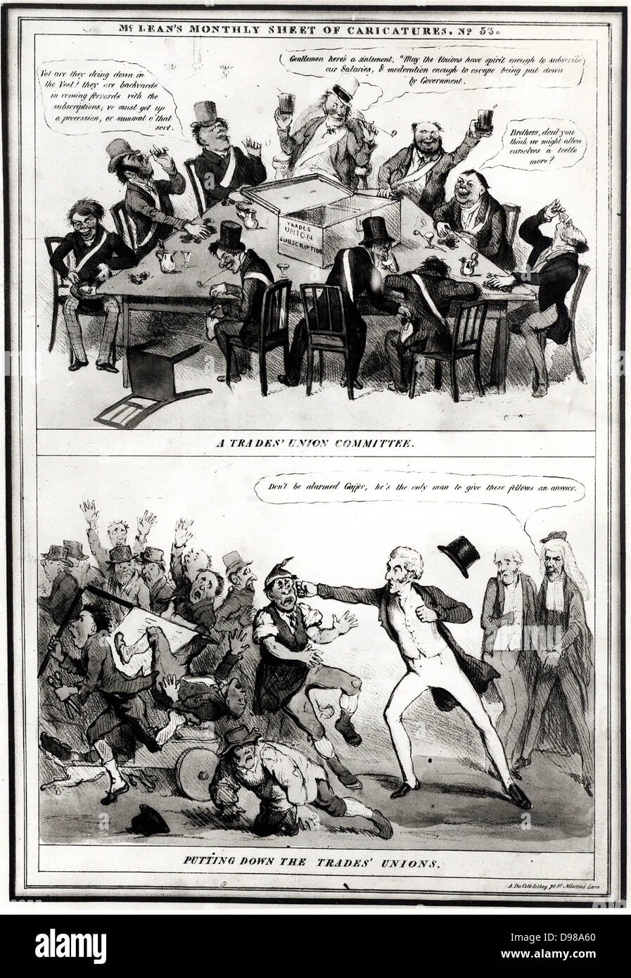 Anti-Trades Union cartoon showing a meeting of a Trades' Union Committee, top, and the Duke of Wellington putting - Stock Image