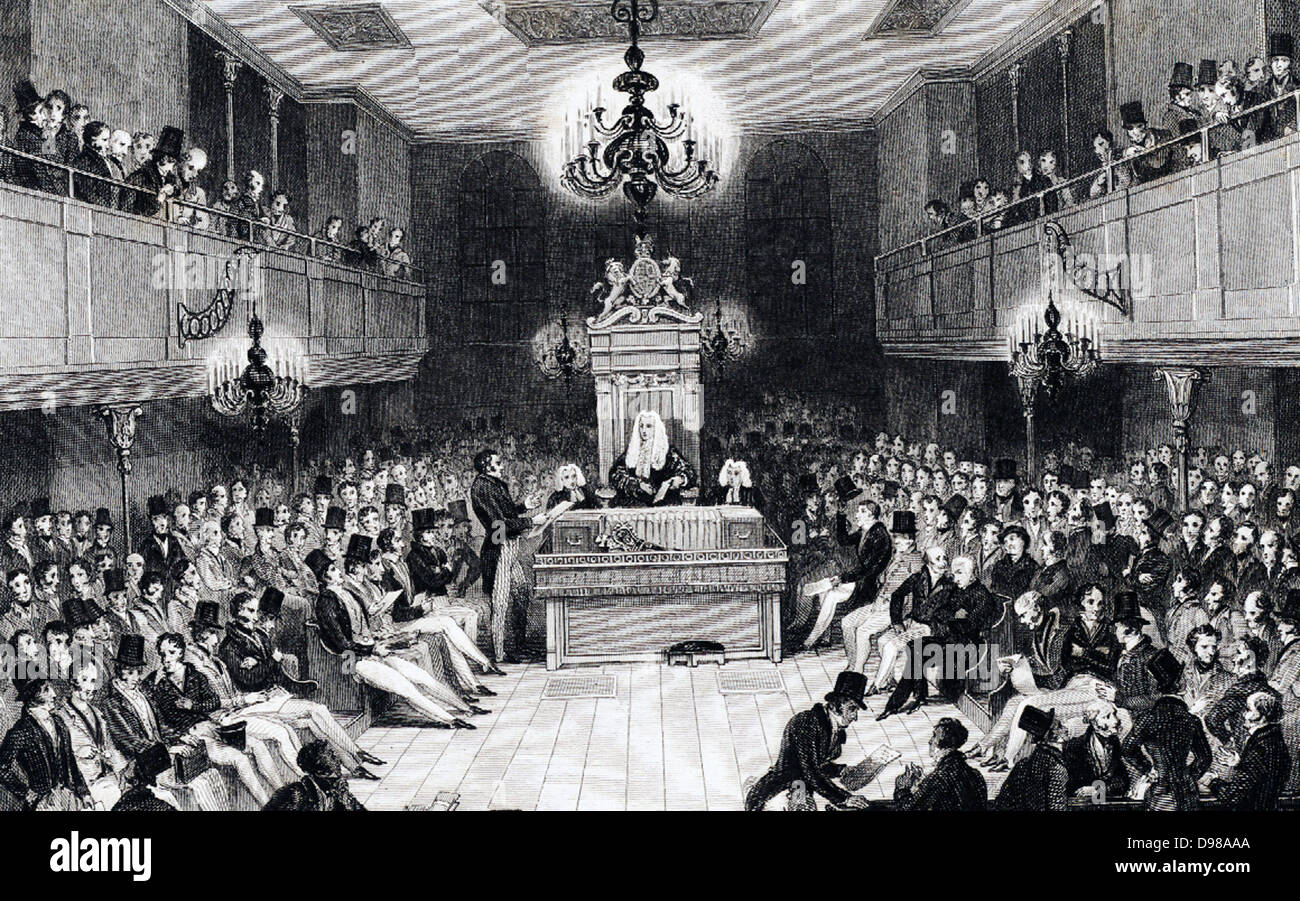 House of Commons in session in the Houses of Parliament which were destroyed by fire in 1834. Engraving. - Stock Image