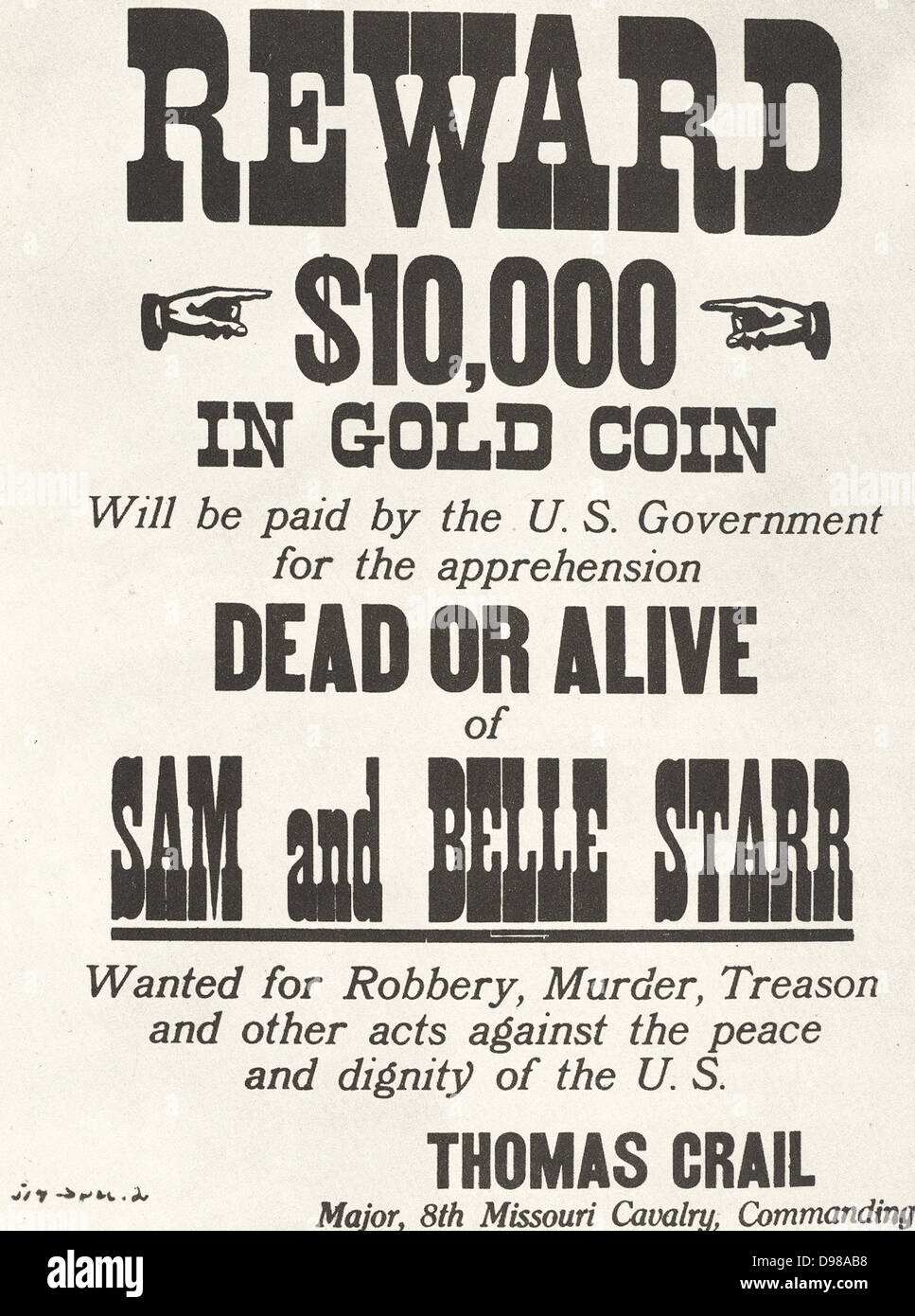 poster for 10 000 reward issued c1880 by the us government for the