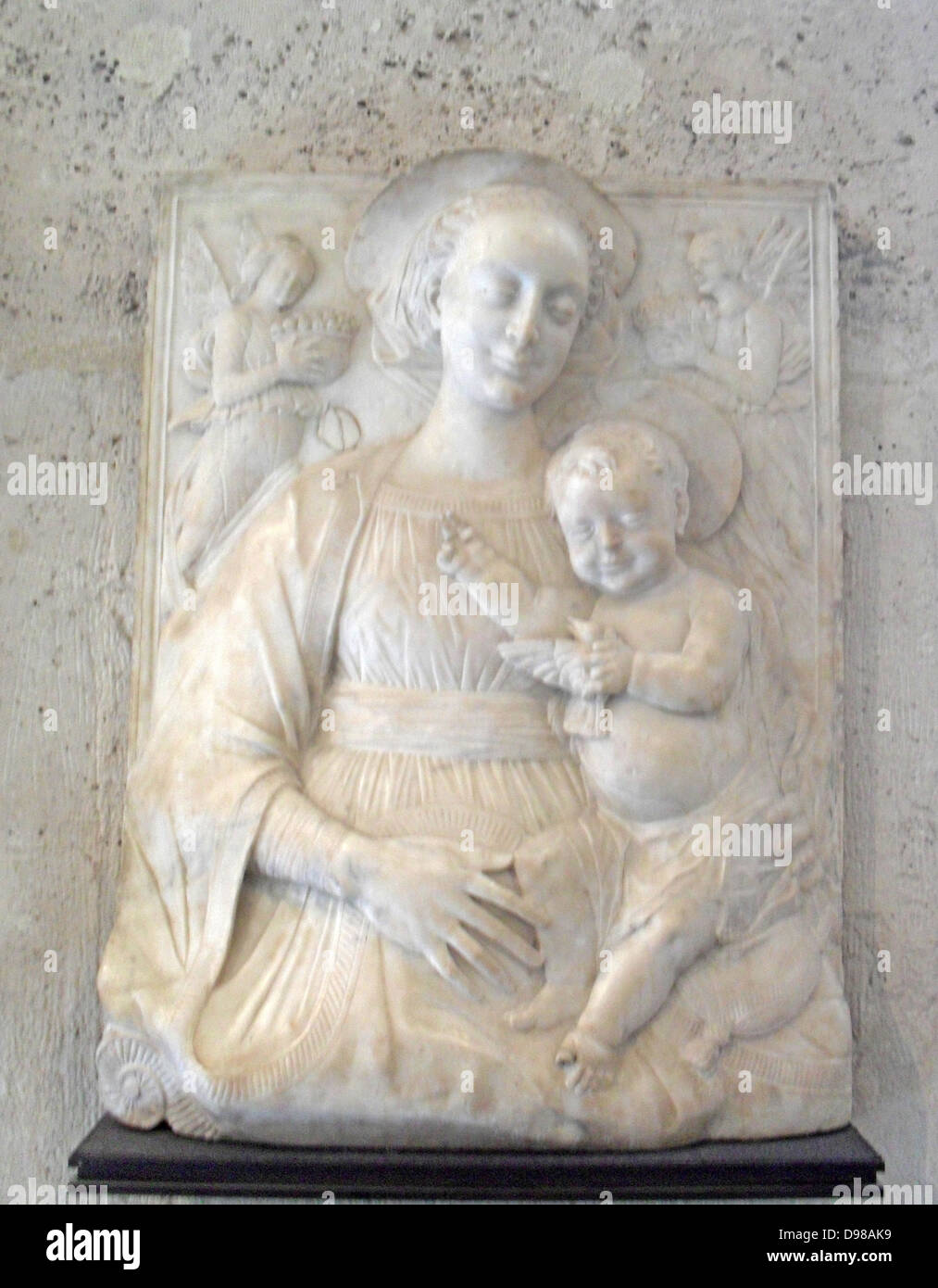 Northern Italy, late fifteenth century. Christ supported by Mary with two angels St. Jerome and St. Mark above. - Stock Image