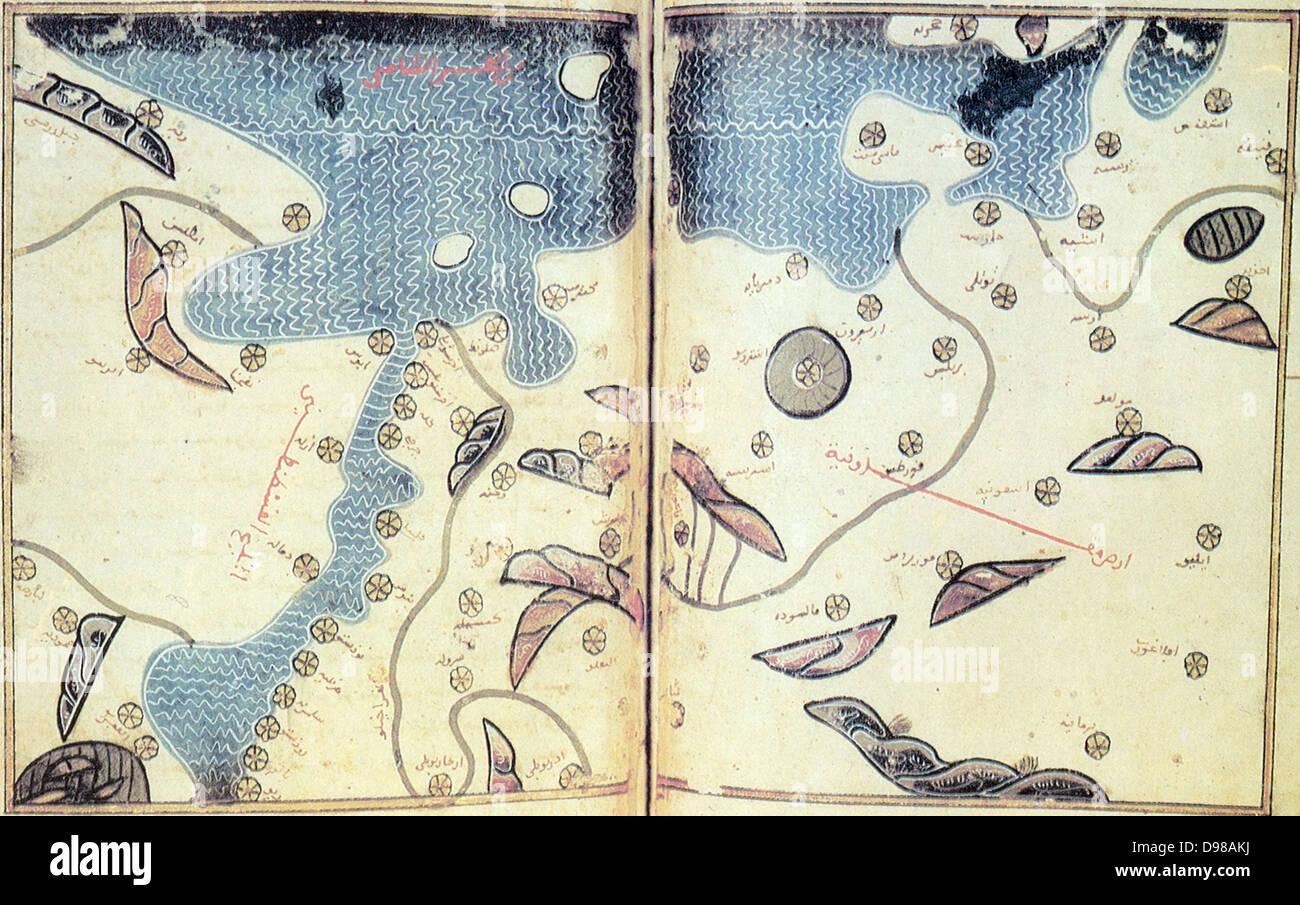Muhammad al-Idrisi. Paris transcript of V-4.   The map displays: the northern shoreline of Marmara Sea, Gallipoli - Stock Image
