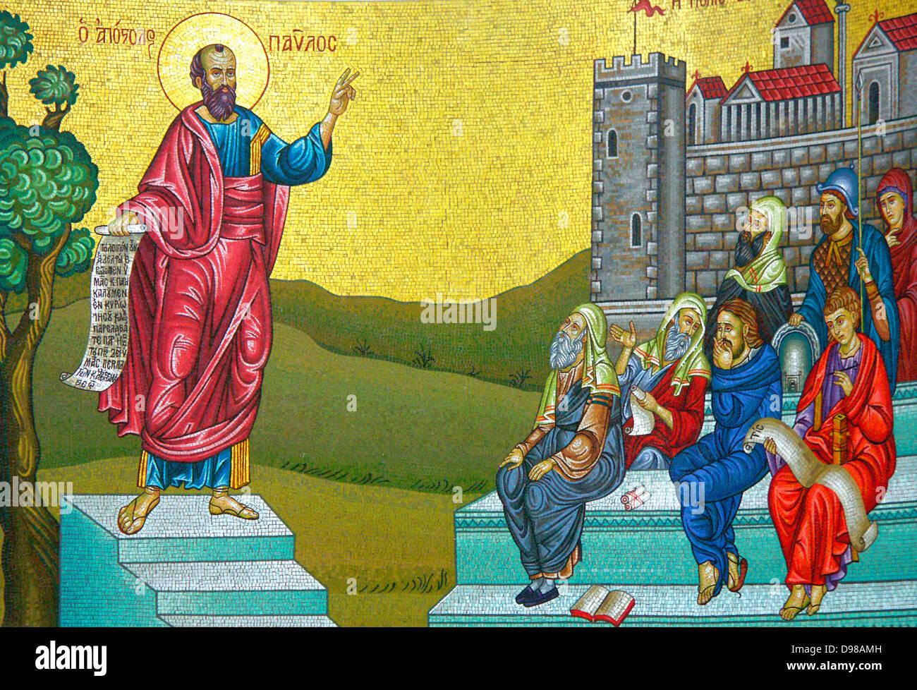 Pauline shrine in Veria, Saint Paul Preaching - Stock Image