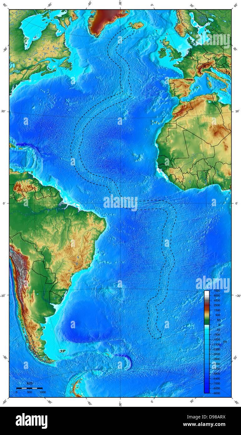 Map Showing Ocean Floor With The Mid Atlantic Ridge Stock Photo