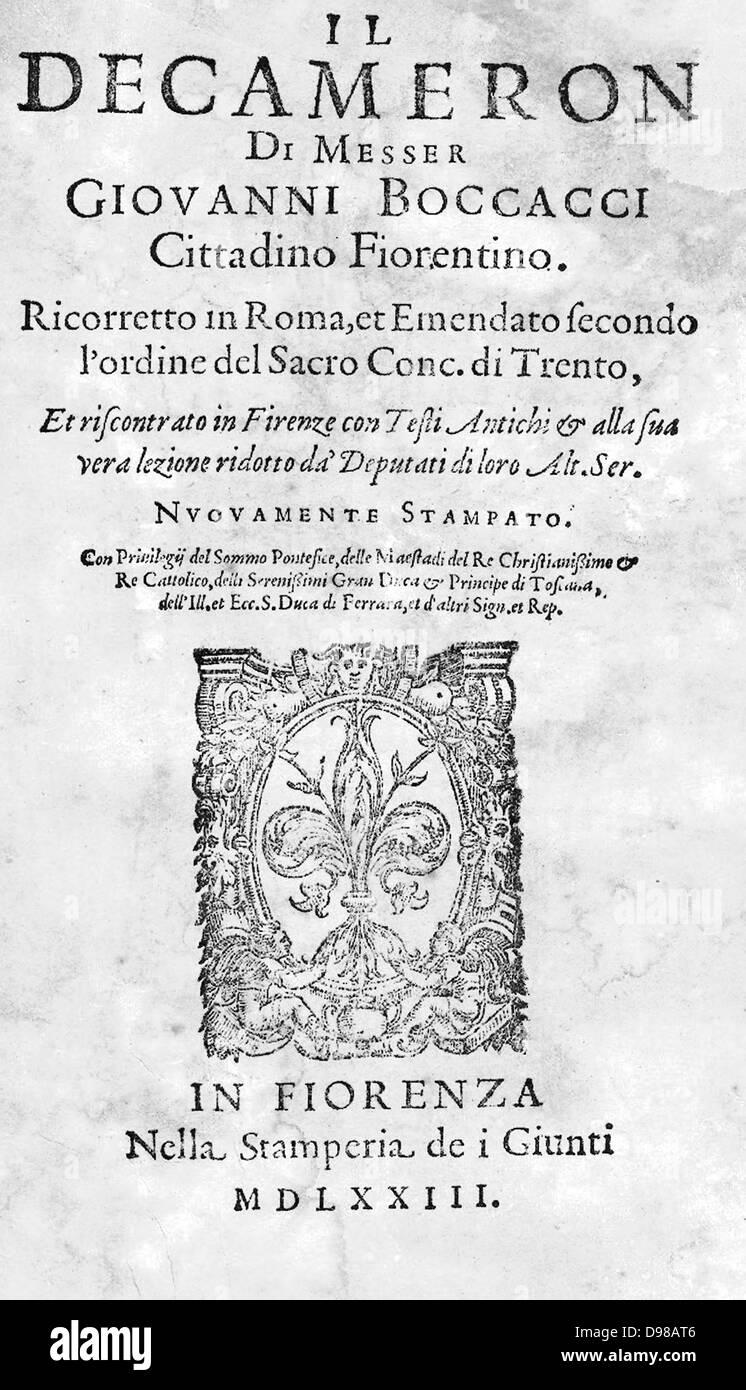 Giovanni Boccaccio, Il Decameron. 1573 . - Stock Image