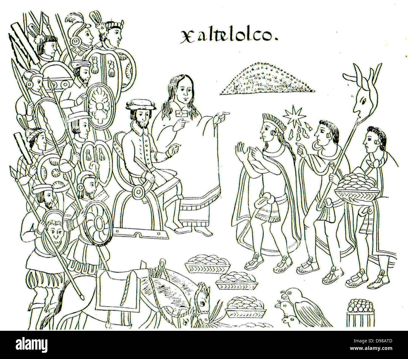 a painting from Diego Munoz Camargo's History of Tlaxcala (Lienzo Tlaxcala), c. 1585, showing La Malinche and Hernán Stock Photo
