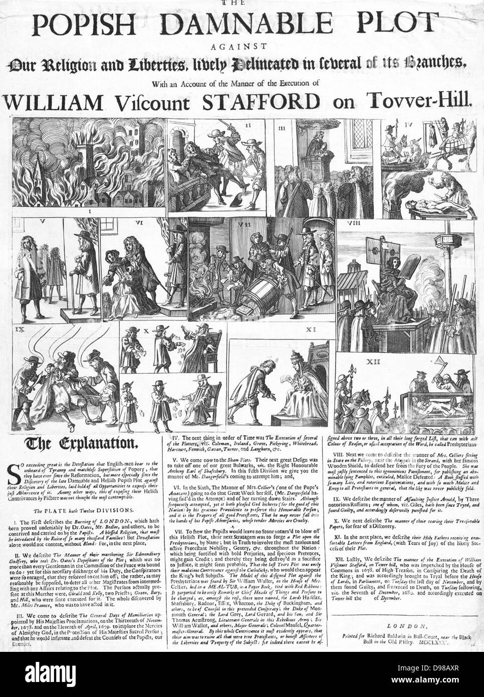 contemporary broadsheet with depiction of Sir Thomas Stafford and the Popish Plot - Stock Image