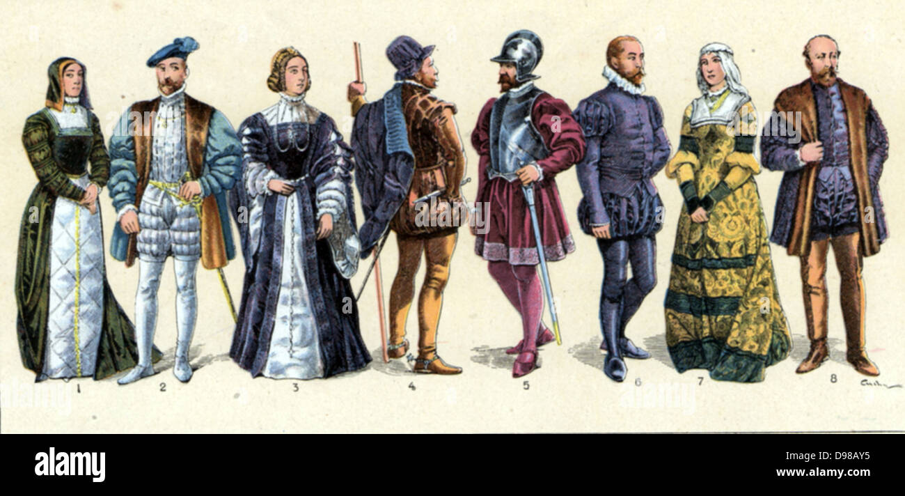 Courtiers Officers nobles and Knights of the Spanish Court Circa 1510 - Stock Image