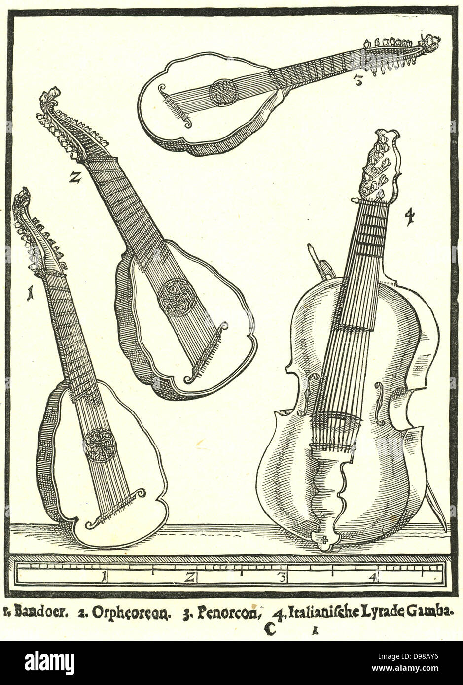 Stringed Instruments. 1: Bandoer, 2: Penorcon, 3: Orpheoreon, forms of Cittern and played with a plectrum. 4: Lyra - Stock Image