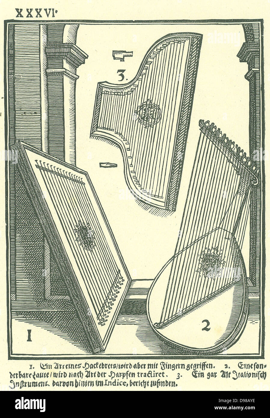Early Italian stringed instruments. 1: A kind of Hackbret, 2: Lute-shaped instrument strung to be played like a - Stock Image