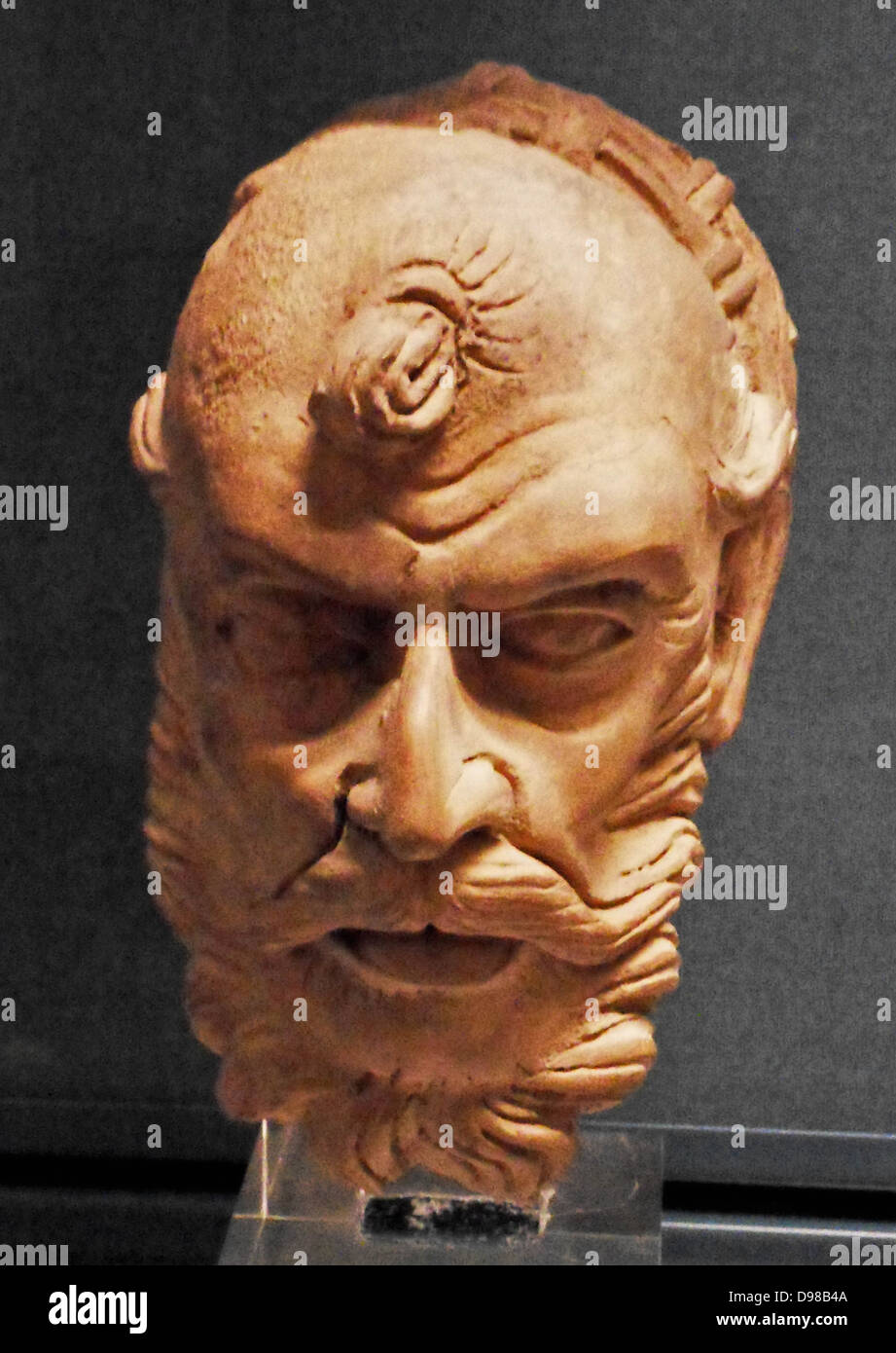 Head of an ascetic, from Gandhara, Pakistan. AD 300-400 clay - Stock Image