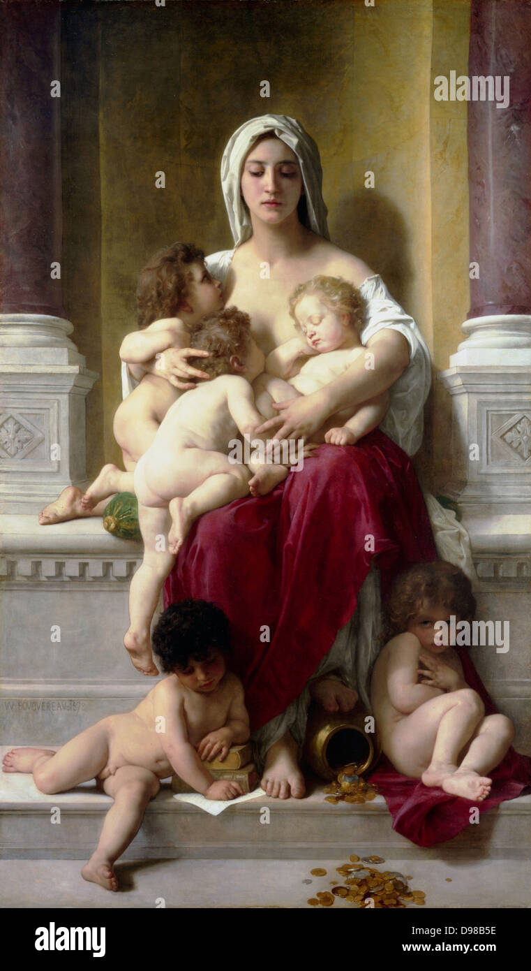 William Adolphe Bouguereau (1825 1905)   Charity (1878) French artist - Stock Image