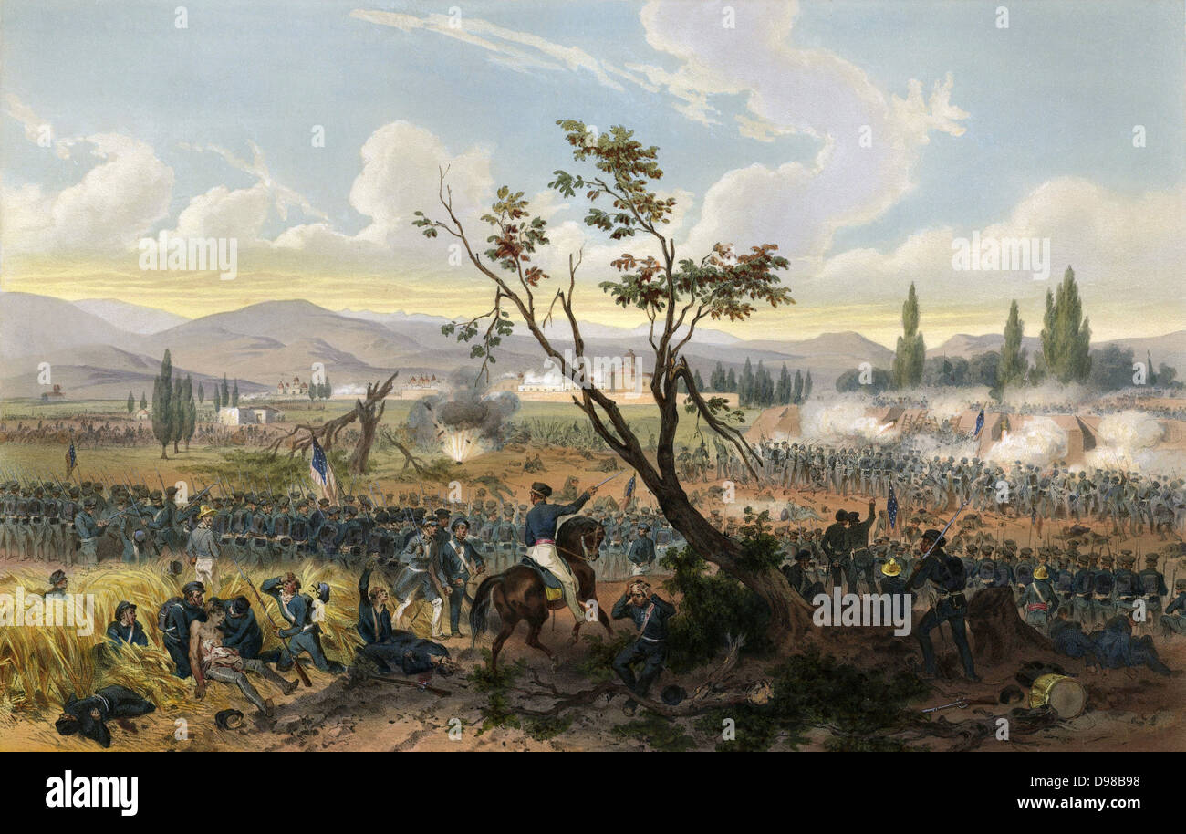 Battle of Churubusco 20 August 1847, Mexican-American War 1846-1848. American under command of General Winfield - Stock Image