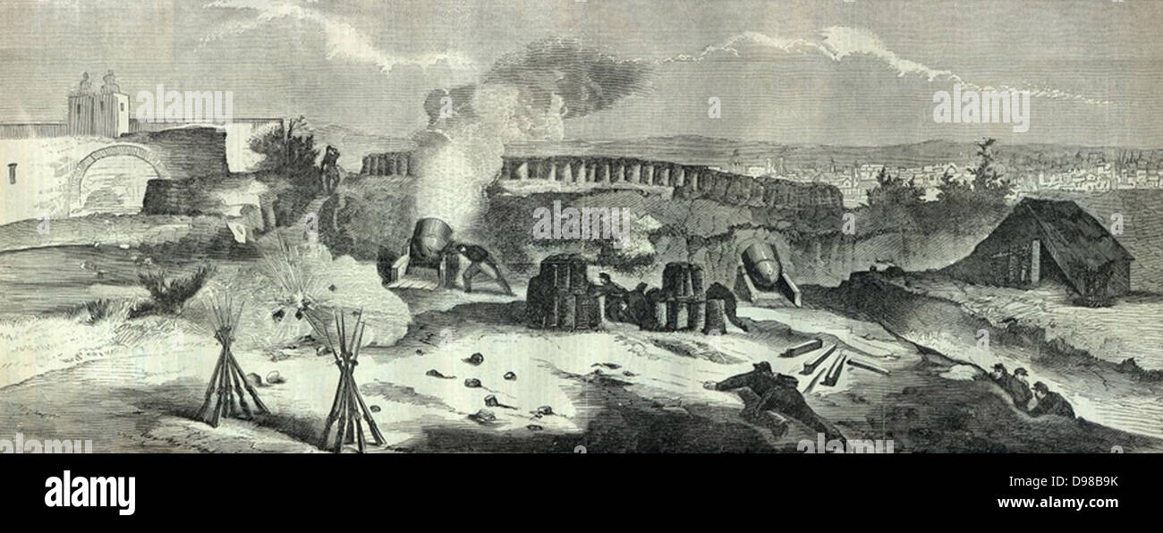 French invervention in Mexico: Battle of Puebla, 5 May 1862 (Battle of Cinco de Mayo). The French under General Stock Photo