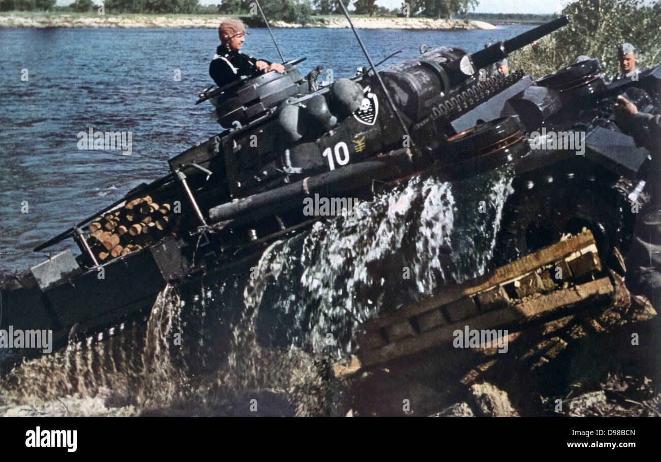 World War II 1939-1945:  German advance into the USSR; tank mounting a river bank. From 'Signal', 1 August - Stock Image
