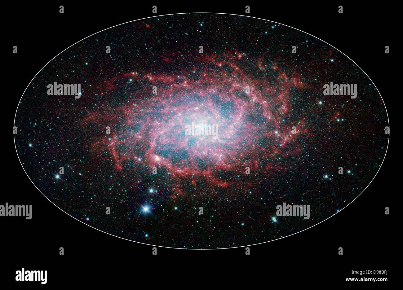 One of our closest galactic neighbours shows its awesome beauty in this new image from NASA's Spitzer Space - Stock Image