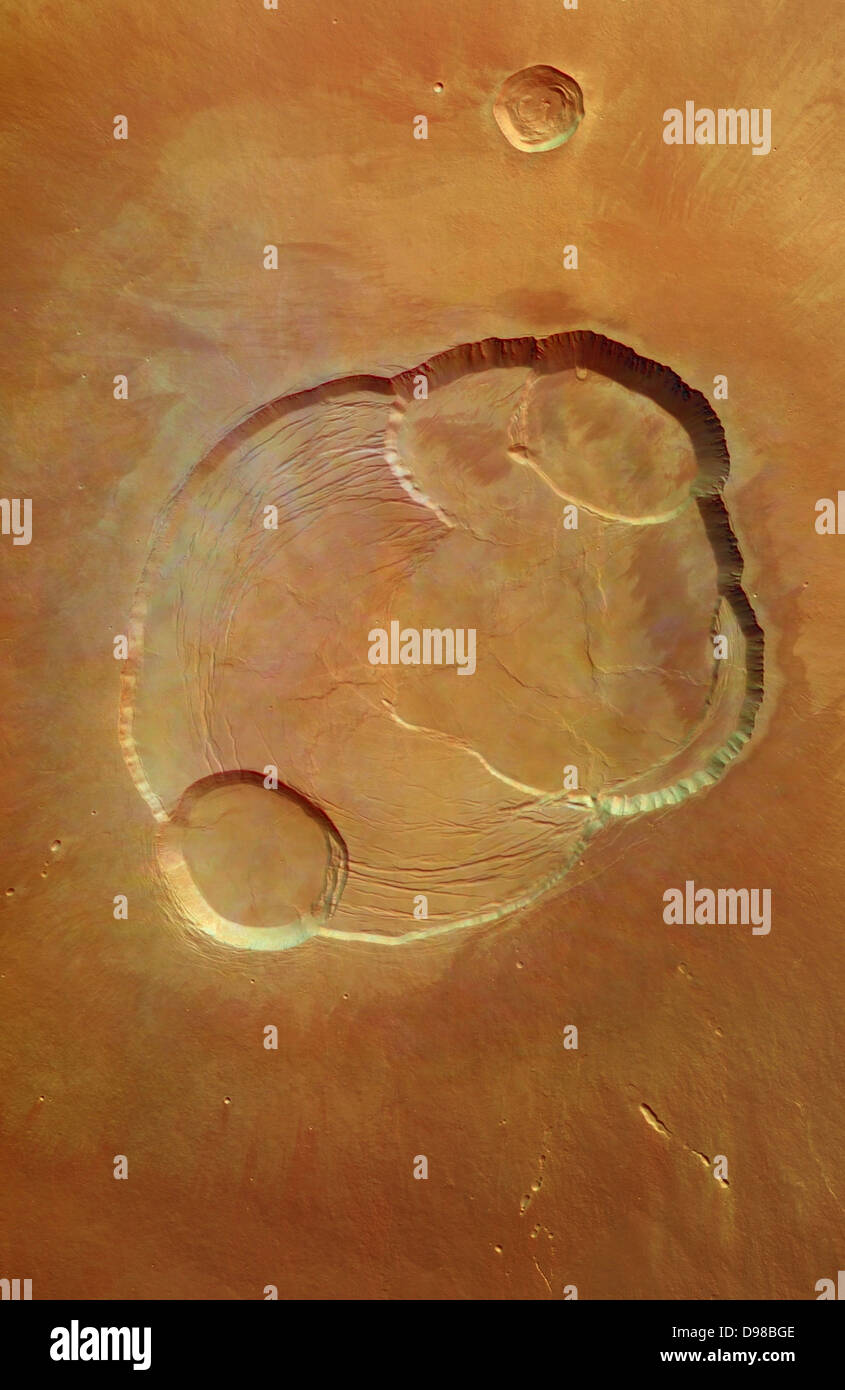 From Martian orbit, the Mars Express cameras looked down on the largest volcano in the solar system. The result Stock Photo