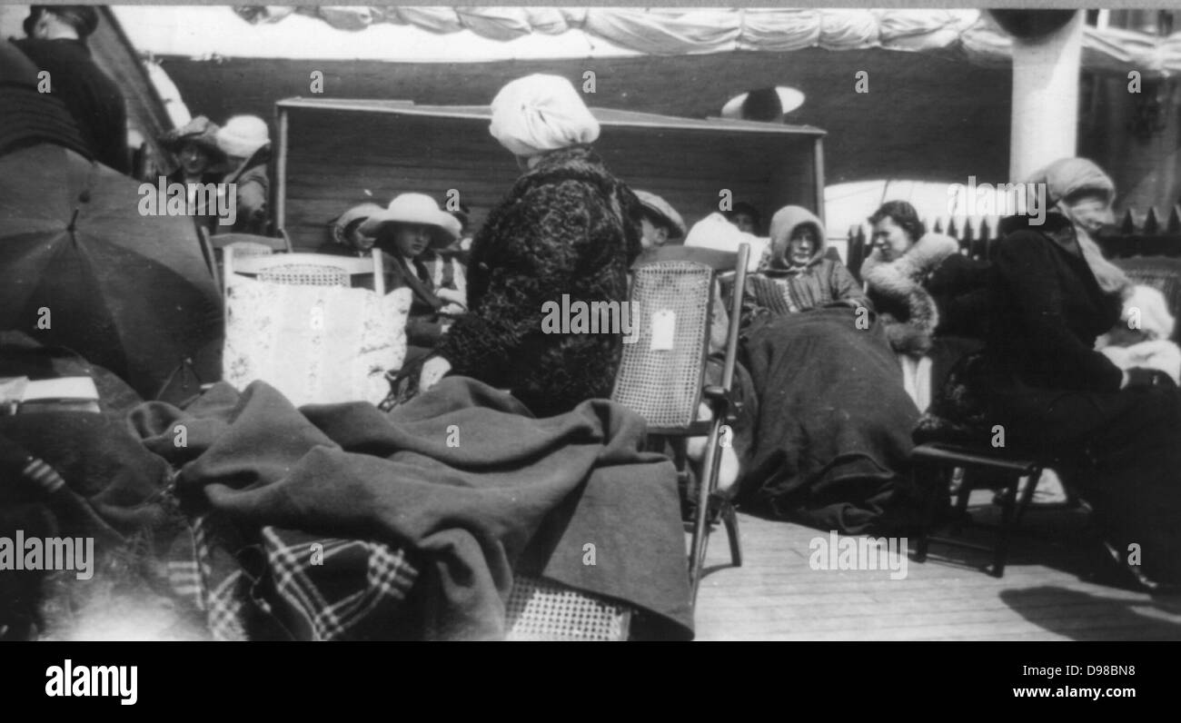 Group of survivors of the Titanic disaster aboard the Carpathia after being rescued. 1912. - Stock Image