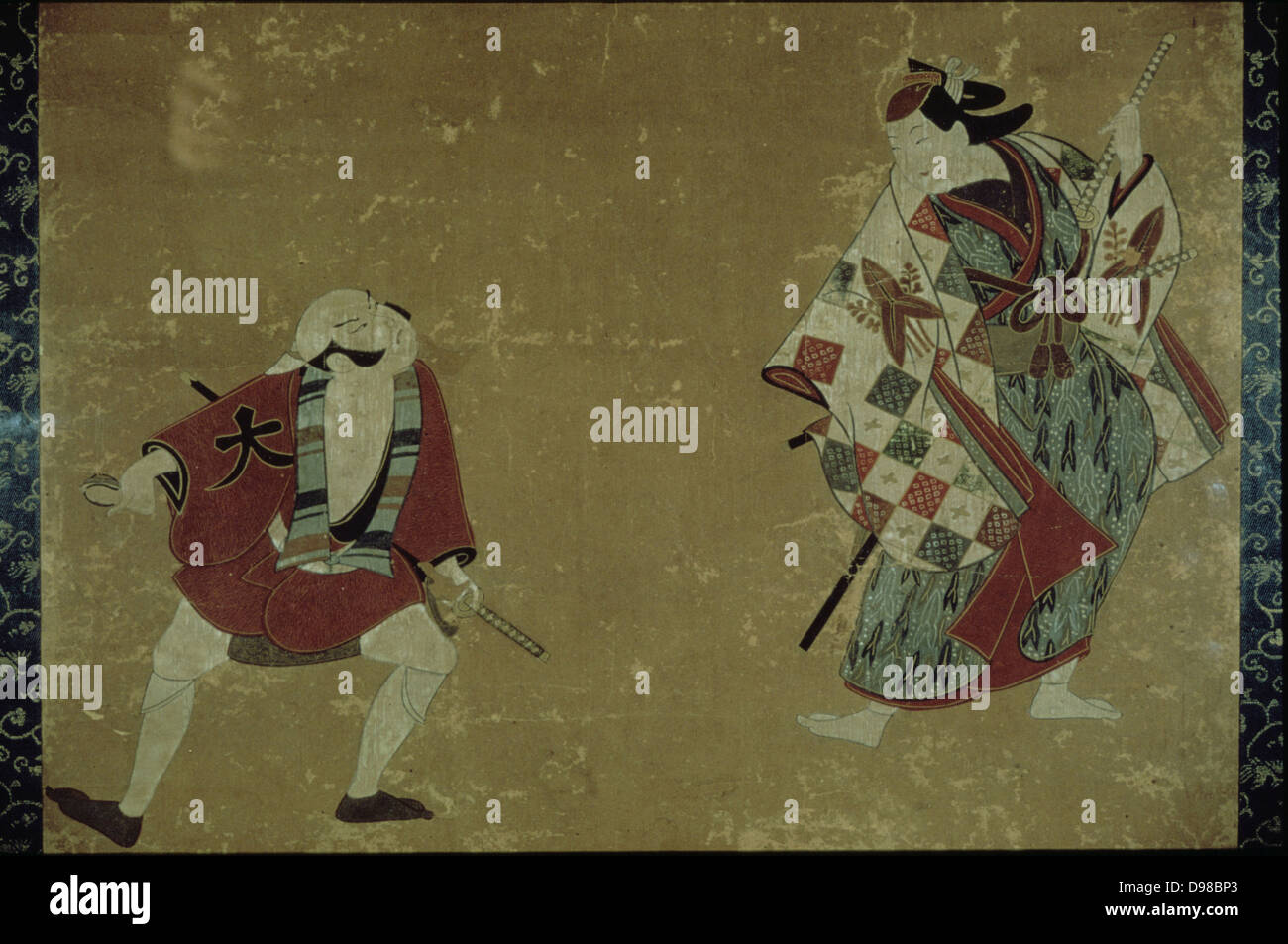 Two Actors in a Play, 1700-1705. Ink and colours, Torii School. - Stock Image