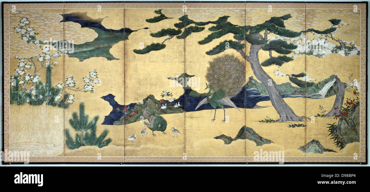 Six-leaved screen with displaying Peacock and Peahen with chicks: Pines, rocks, bushes and stylised clouds. Colour, - Stock Image