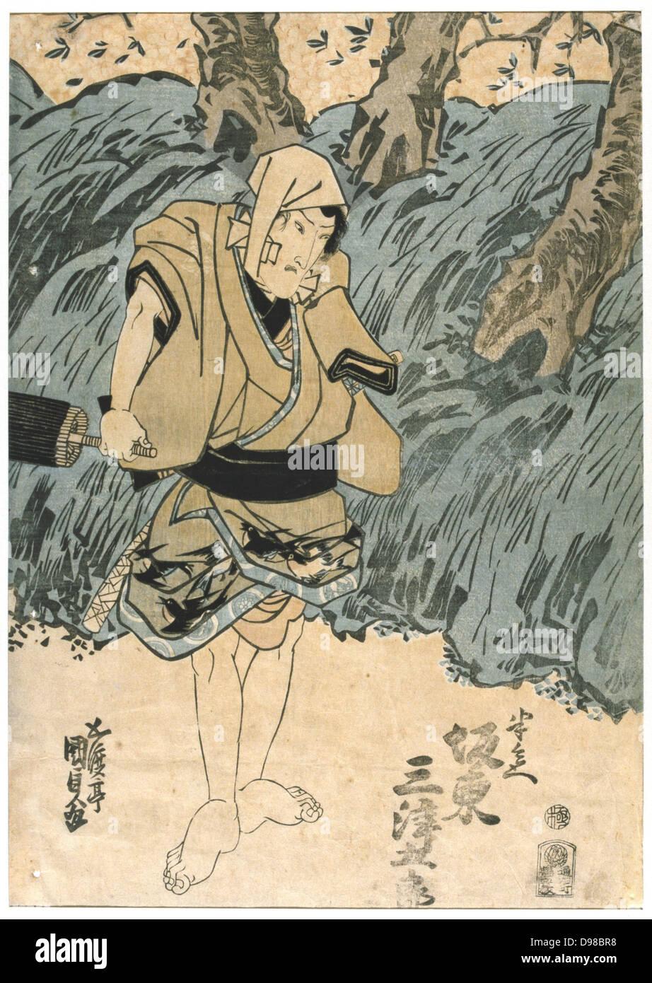 Kabuki theatre actor Bando Mitsugoro. Kabuki, a highly stylised Japanese dance-drama. Utagawa Kunisada (1786-1864) - Stock Image