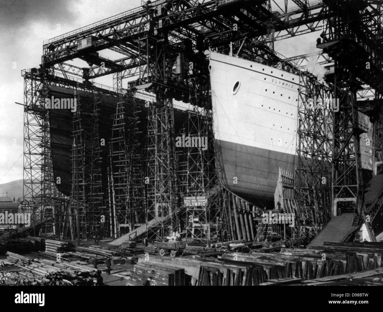 OLYMPIC and TITANIC - view of bows [in shipyard construction scaffolding] Date Created/Published: [between 1909 - Stock Image
