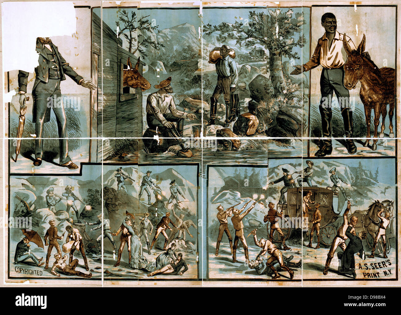 Vignettes of western scenes Creator(s): A.S. Seer., 1881? - Stock Image
