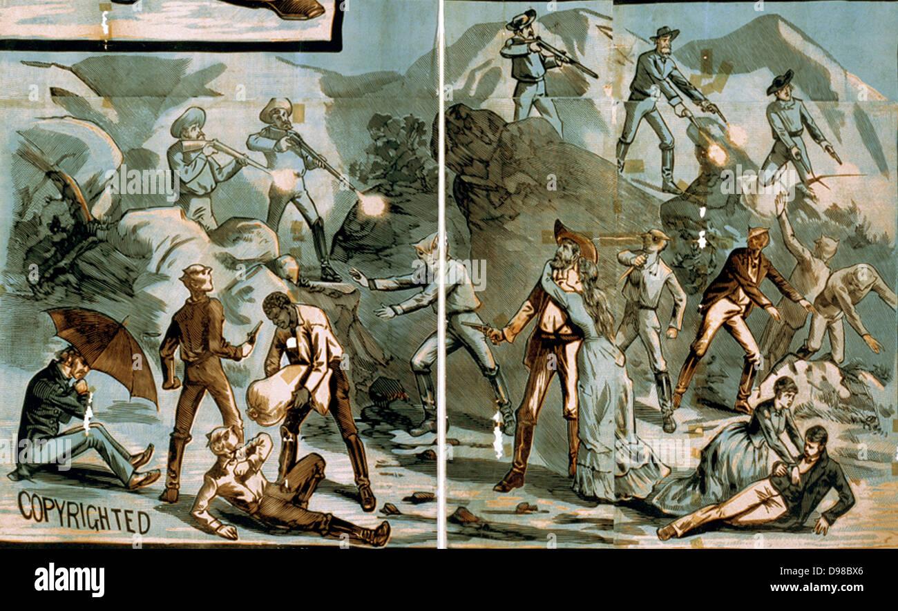 Vignettes of western scenes Creator: A.S.Seer Print. 1881? - Stock Image