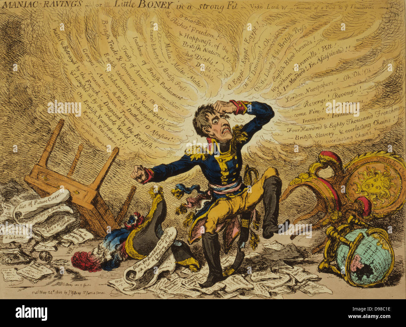 Maniac-raving's-or-Little Boney in a strong fit / Js. Gillray inv. & fect 1803. Creator James Gillray, 1756 - Stock Image