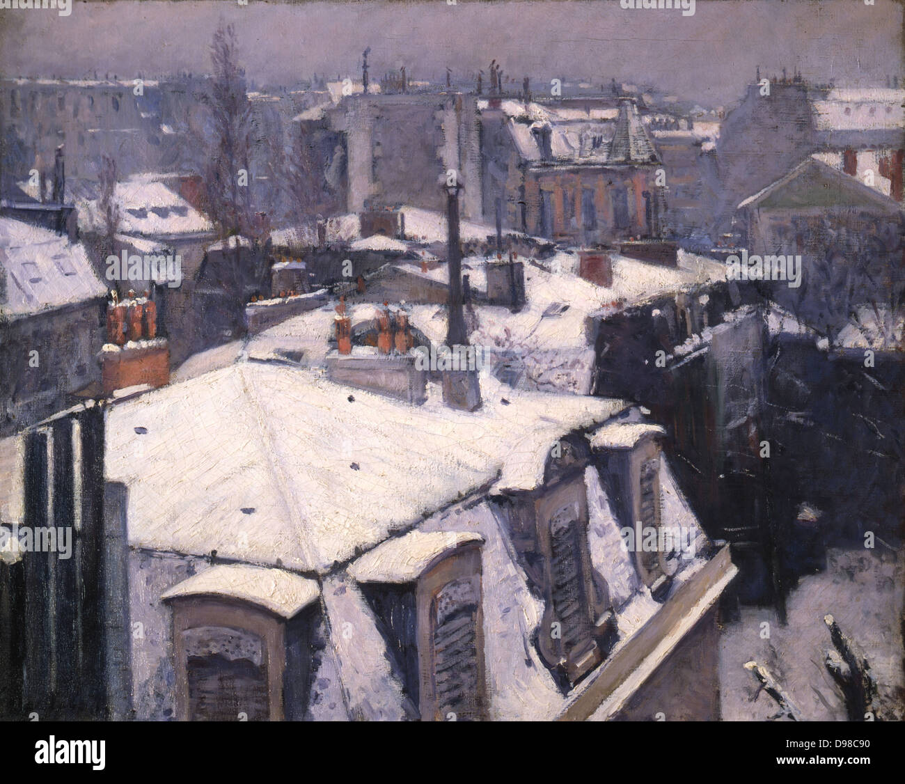 Rooftops in the Snow' 1878. Gustave Caillebotte (1848-1894) French Impressionist painter. - Stock Image