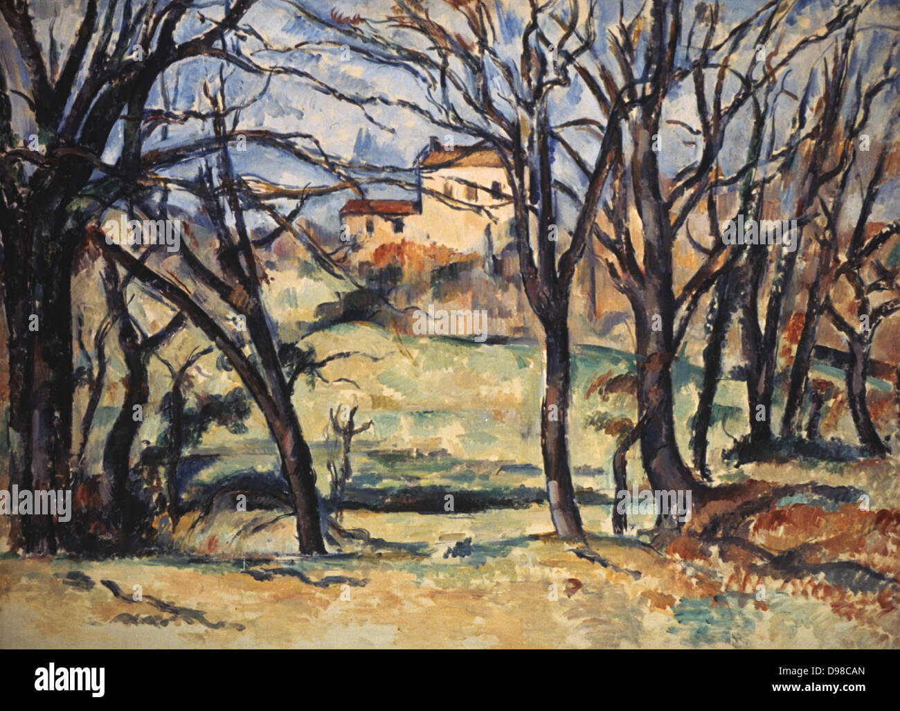 Trees and a House', 1885-1886. Paul Cezanne (1839-1906) French Post-Impressionist painter. - Stock Image