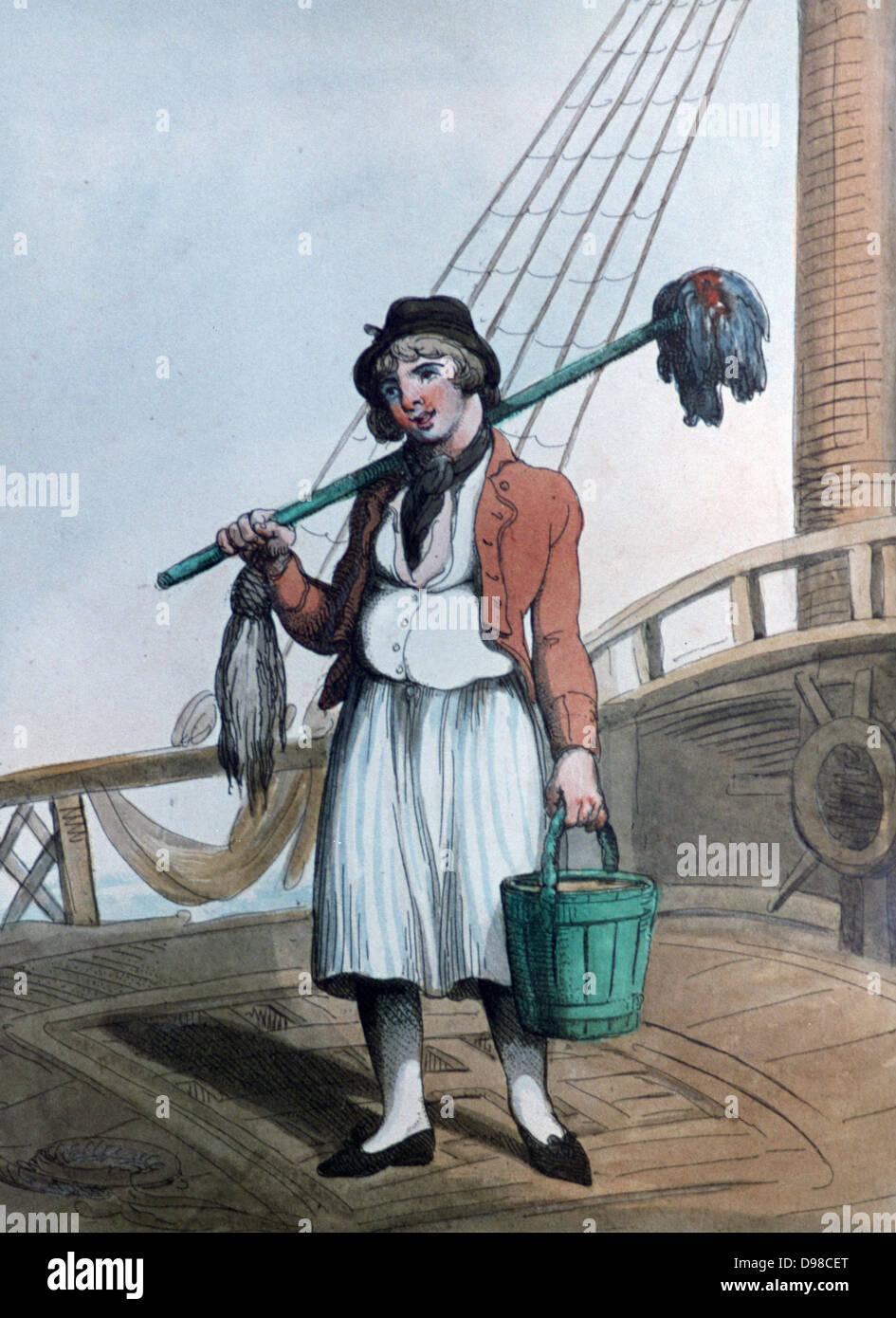 Cabin Boy', 1799. Print by Thomas Rowlandson (1756-1827). Aquatint. - Stock Image