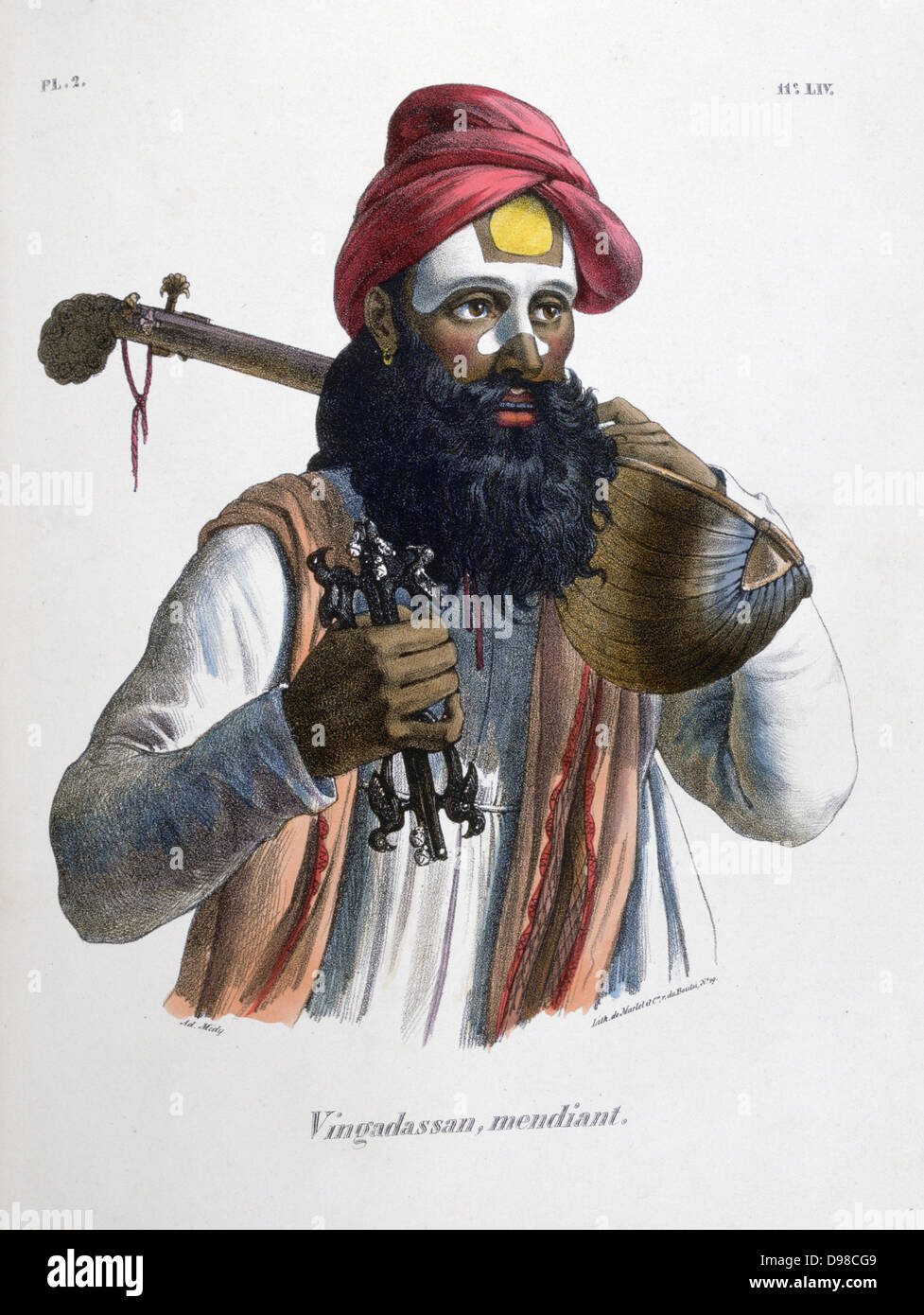 Mendicant musician carrying a stringed instrument similar to a lute. Hand-coloured lithograph from 'L'Inde - Stock Image