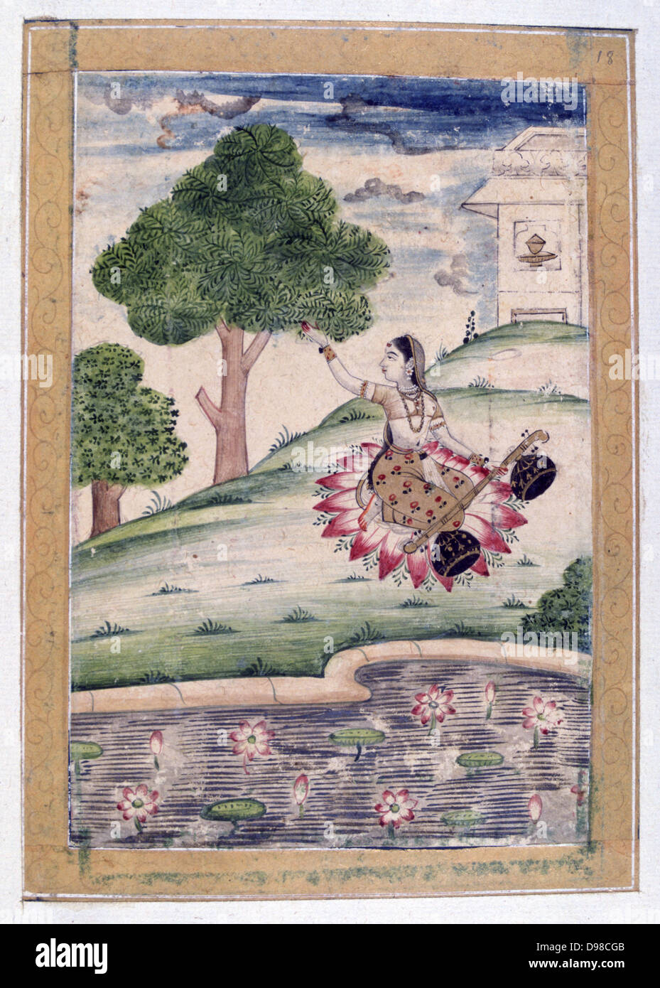 Album Of Ragamala Female Musician Kneeling On Lotus Petals Seated