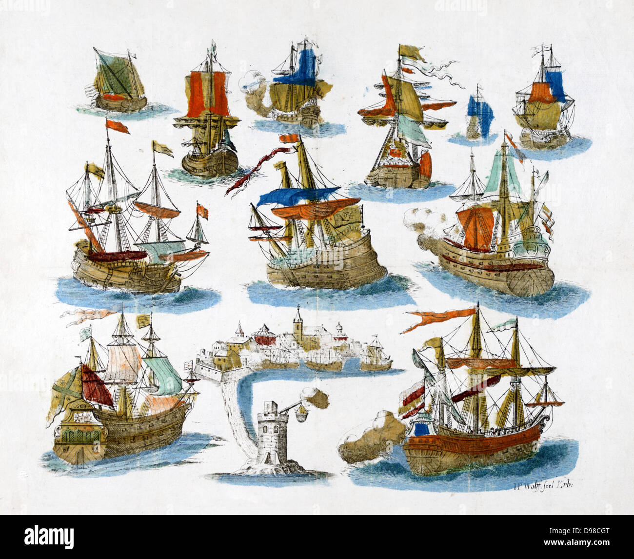 Popular Eighteenth century print of various sailing vessels. - Stock Image
