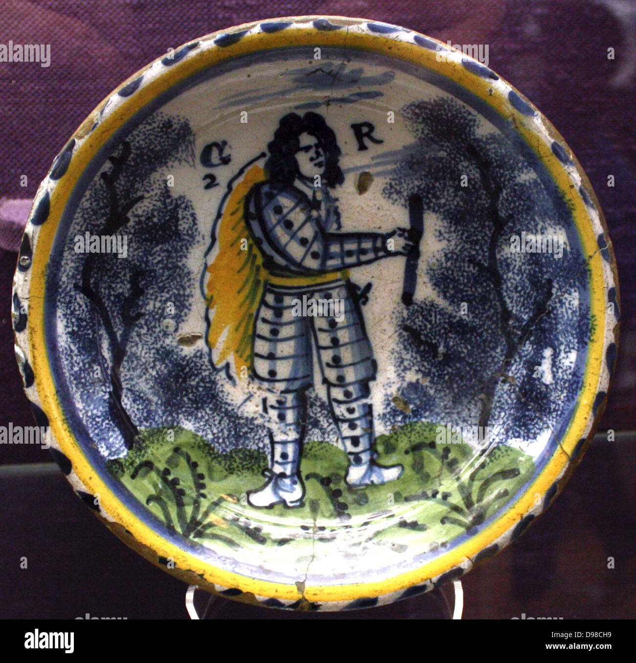 Dish : George 1  of England, probably manufactured in Bristol about 1730. Stock Photo