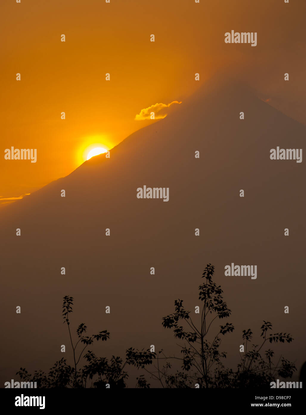Merapi volcano at sunrise, Java, Indonesia - Stock Image