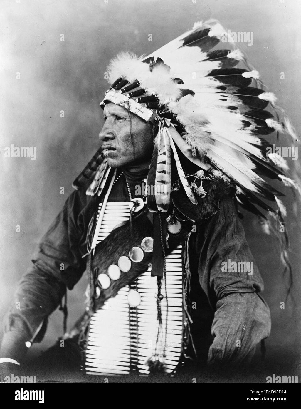 Red Bird, Sioux Indian, half-length portrait, seated, facing left, wearing feathered headdress, c1908. Photograph - Stock Image